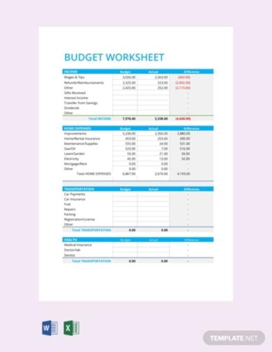 a4 expense budget template