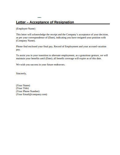 acceptance of employment resignation letter