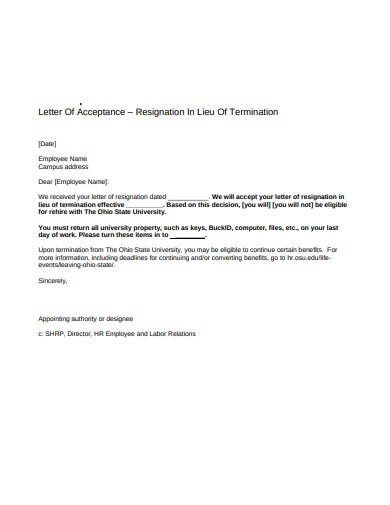 acceptance of resignation letter template