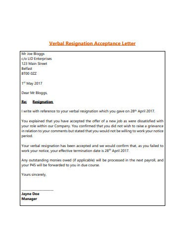 acceptance of resignation letter in pdf