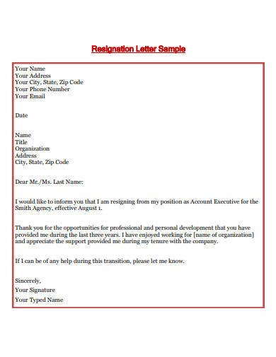 account executive resignation letter