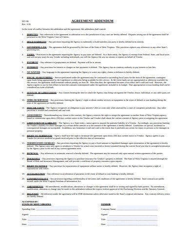 addendum agreement template
