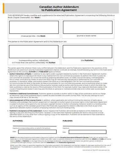 addendum agreement for publications