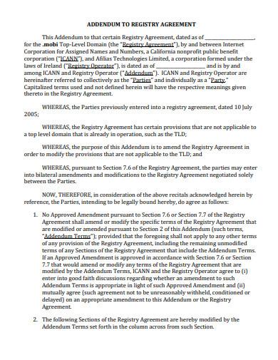 addendum registry agreement template