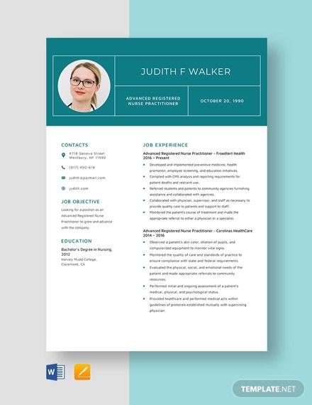 advanced travel rn practitioner resume template