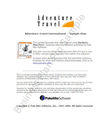 adventure travel business plan example