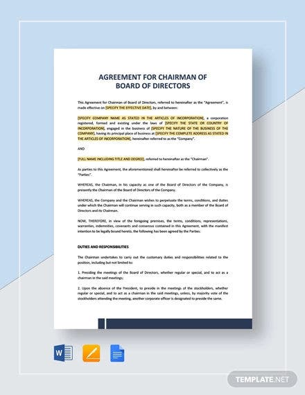 Agreement For Chairman Of Board Of Directors Template