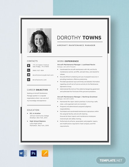 aircraft maintenance manager resume template