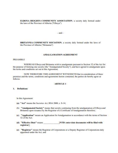 amalgamation agreement in pdf