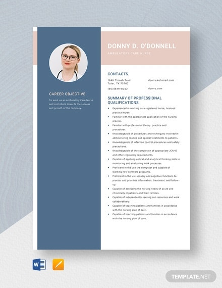 ambulatory care nurse resume template
