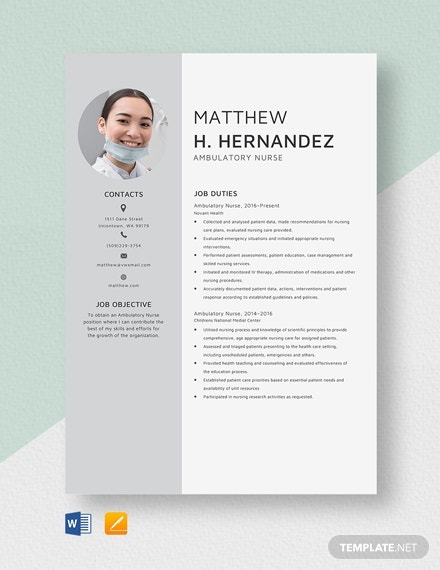 ambulatory travel nursing resume template