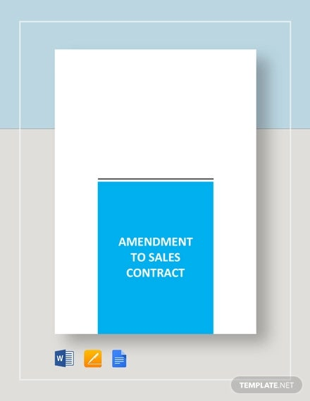 amendment to sales contract template