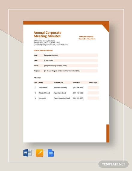 annual corporate meeting minutes template1