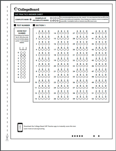 answer sheet template