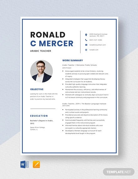 arabics teacher resume template