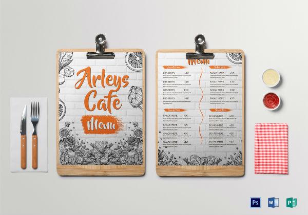 arleys cafe menu template