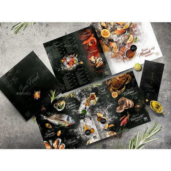 artistic seafood menu template