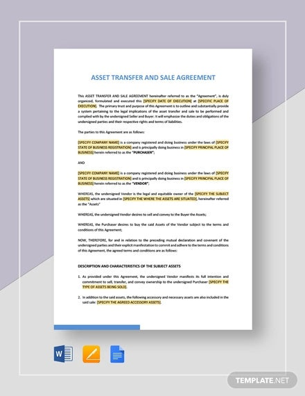 asset transfer and sale agreement template1