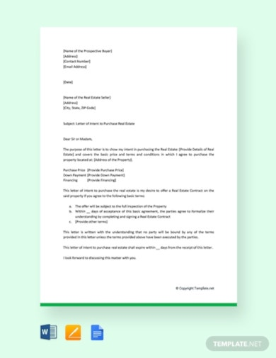 attractive real estate letter of intent template
