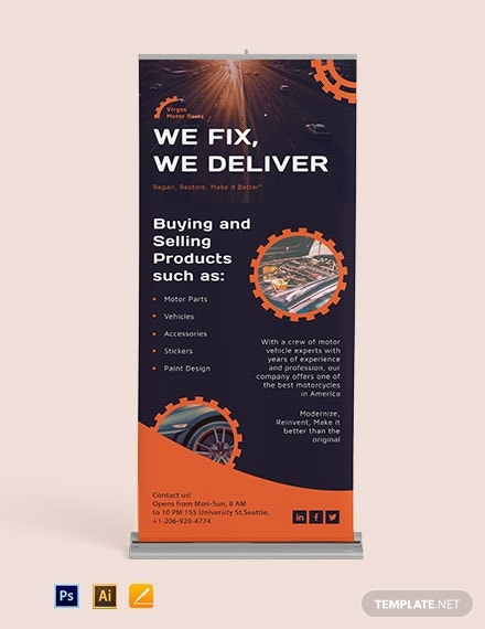automotive business roll up banner design