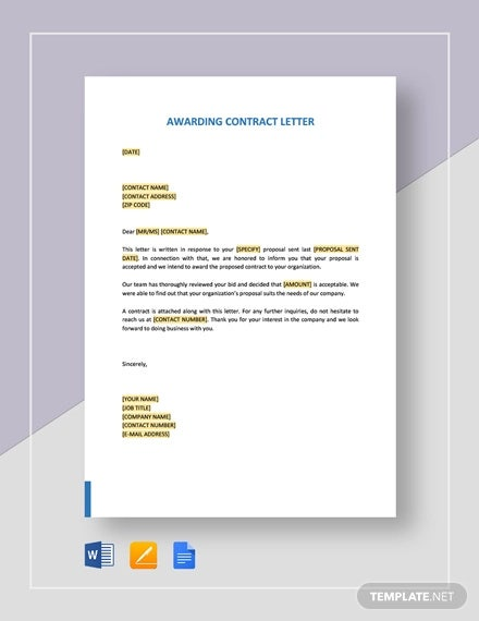 Awarding-Contract-Letter-Template Letter Awarding Contract Template on