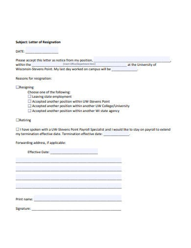 basic acceptance of resignation letter template