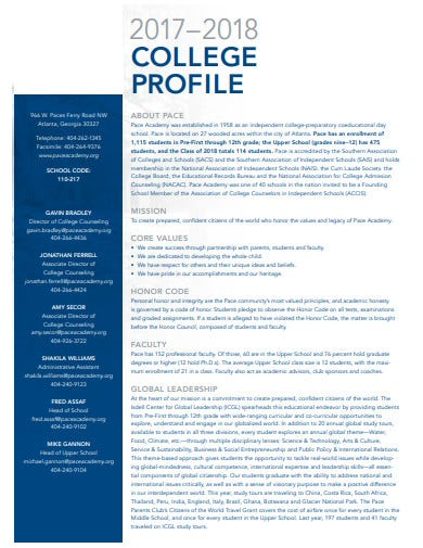 basic college profile template