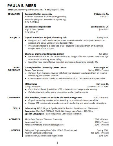 basic college student resume templates