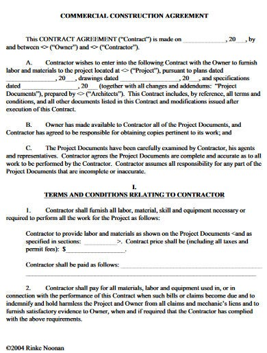 basic commercial construction agreement