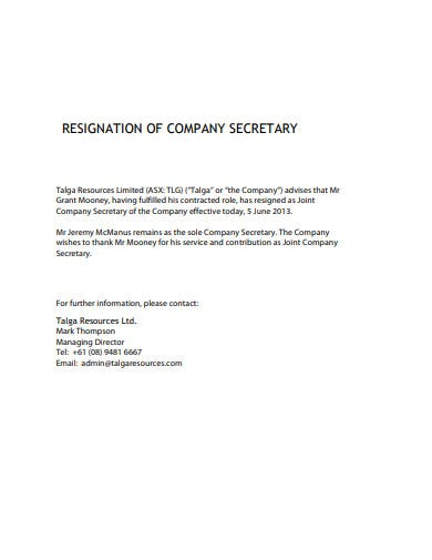 basic company secretary resignation template