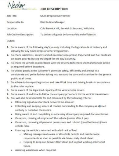 basic driver job description template