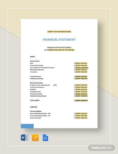 basic financial statement template