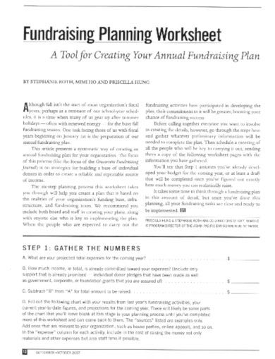 basic fundraiser worksheet template