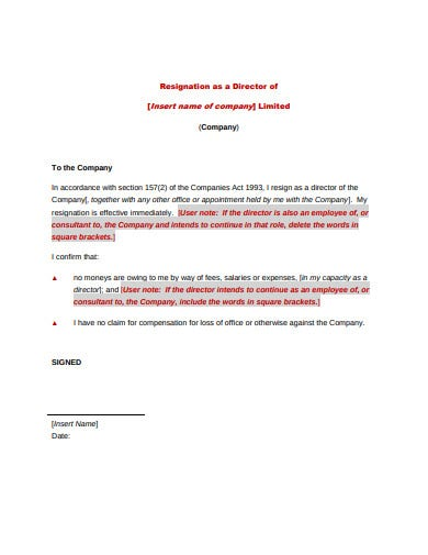 basic immediate resignation letter