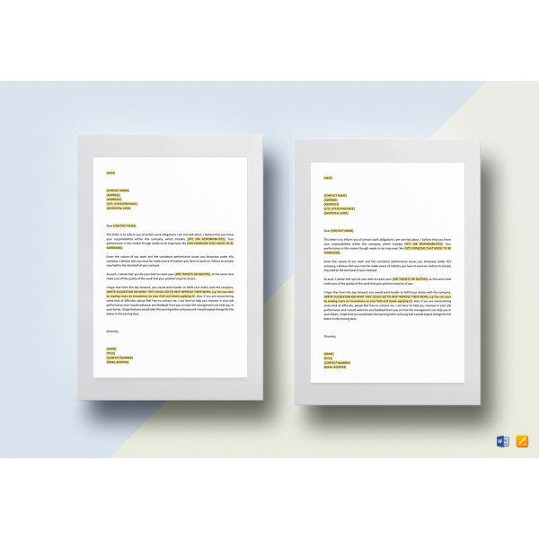 basic job performance warning letter template