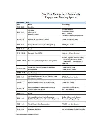 basic management meeting agenda