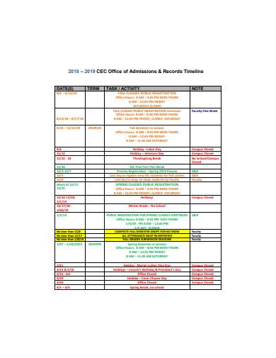 basic office timeline template