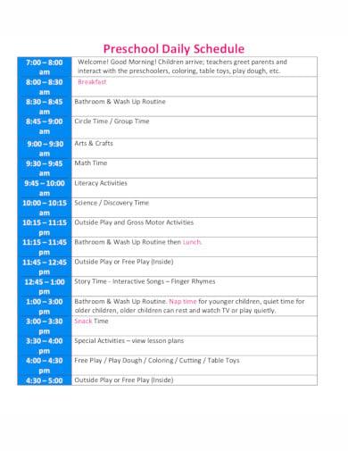 19 Preschool Daily Schedule Templates In Pdf Doc Free