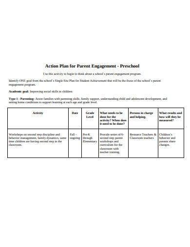 basic preschool action plan template