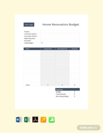 basic renovation budget template