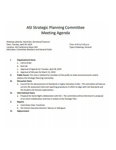 basic strategic planning meeting agenda template