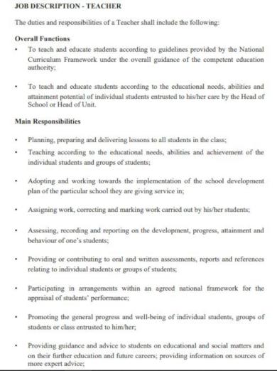 basic teacher job description template