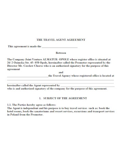 basic travel agency agreement template