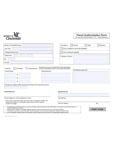 basic travel authorization form template