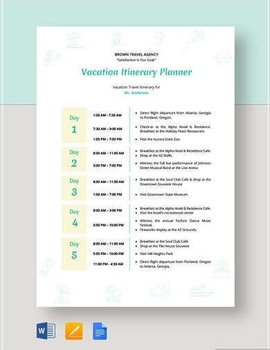 basic travel itinerary template