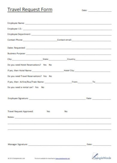 basic travel request form template