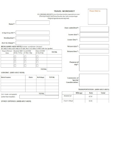 basic travel worksheet template