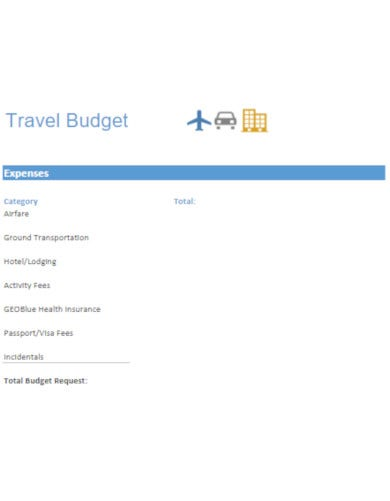 basic vacation budget template