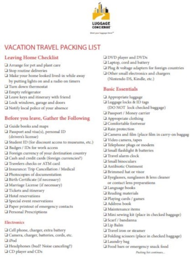 basic vacation travel packing list