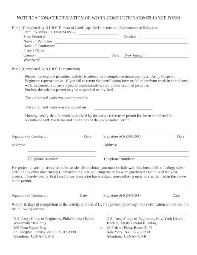basic work completion form template